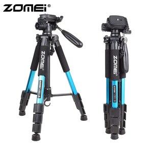 Image 2 - Zomei bleu Q111 trépied léger professionnel Portable support dappareil photo de voyage avec tête panoramique sac de transport pour appareil photo numérique reflex numérique