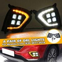 Pair LED Daytime Running Light Left Right fog DRL w/ yellow turning signal lamp DRL For Hyundai Creta IX25 2017 2018 car styling
