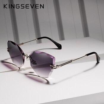 4a9196835 KINGSEVEN DESIGN de Moda Senhora Frame Da Liga de óculos de Sol Sem Aro  2019 óculos de Sol Das Mulheres Do Vintage Clássico Marca Designer Shades  Óculo