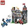 Просветите 1021 Средневековый Замок Льва Рыцарь Перевозки Строительные Блоки Устанавливает Модель Кирпичи Игрушки для Детей Рождественский Подарок Juguetes
