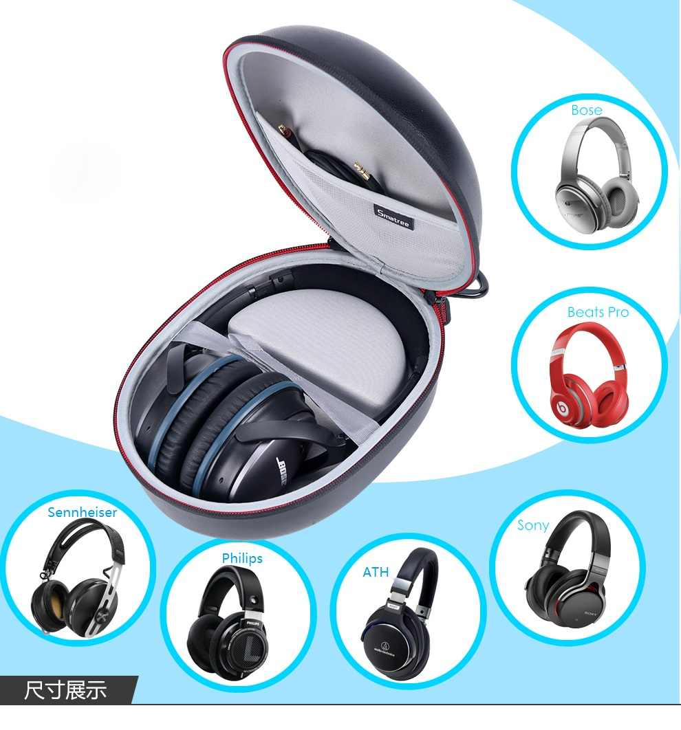 2cea3c71660 ... Smatree PU Leather Headphone Bags Case For Beats Solo2/Solo 3 Wireless/ Wired Headphone ...