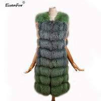 Eivanfur YW33 2018 new women fashion real fur long real fur fox coat real fox fur vest Italian fashion style free shipping