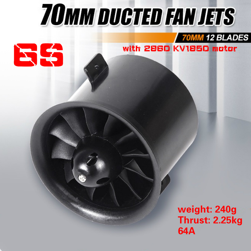 FMS 70mm 12 Blades Ducted Fan EDF Unit With In-runner 2860 KV1850 Motor 6S version For RC Airplane Model Plane Parts