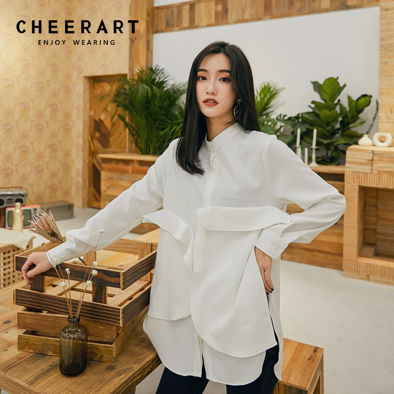 1546cffa3ef80 Cheerart Design Ruffle Blouse Women Spring 2019 Long Sleeve White Shirt  Ruffle Tops Clothing Fashionable