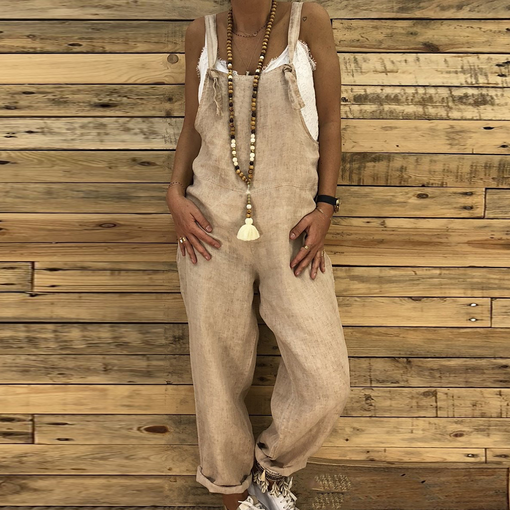 Women Sleeveless Adjustable Strap Loose Casual   Jumpsuit   Ladies Wide Leg Overall Long Rompers Pants