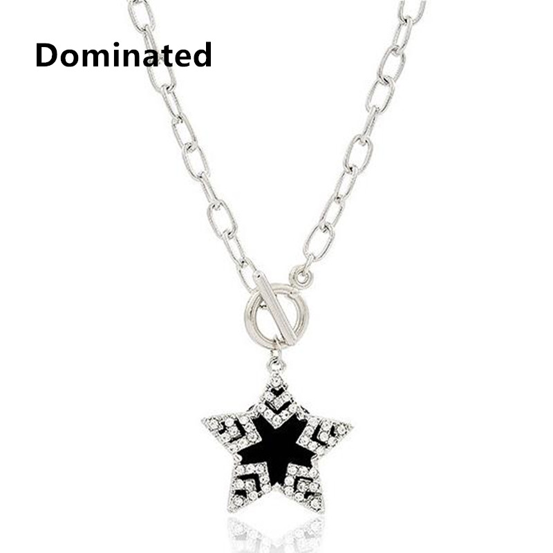 2016 New Arrival Women Fashion Accessories Chain Black Pentagram Necklace Clavicle Female Short Chain Clavicle