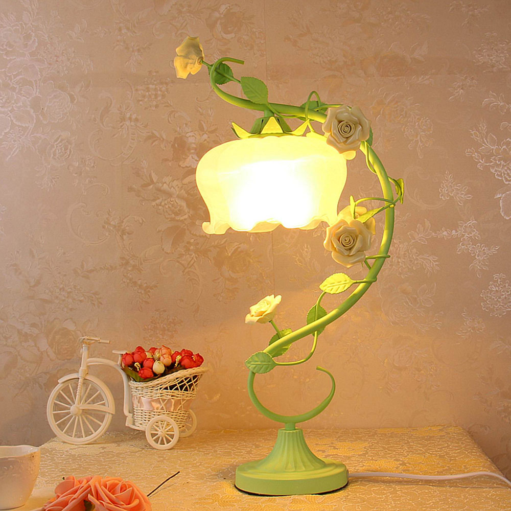 Led Table Lamp 220v Switch Button Touch Table Lamp E27 Romantic Metal Green Garden Desk Lamps Study Luminarias hghomeart kids room resin switch button table lamp luminarias led e27 study lamp 110v 220v bedside desk lamps light