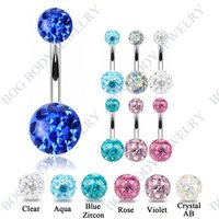 BOG 6 Pieces Set Belly Button Piercing Navel Ring With Double Epoxy Multi Ferido CZ Crystal