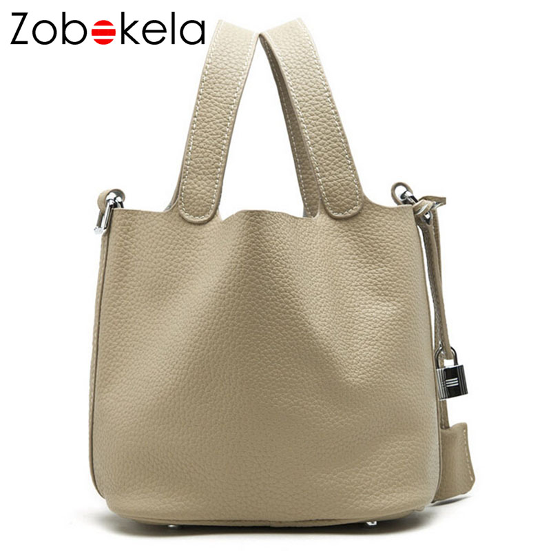 ZOBOKELA Genuine Leather Bag Female Purses And Handbags Luxury Handbags Women Bags Designer Bucket Tote Bag Ladies Hand Bag 2018 luxury brand design basket bucket tote women day clutches and purses 2pcs composite bag lady handbags rivet women messenger bag