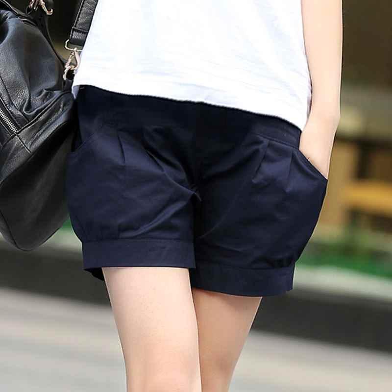 Plus rozmiar 5XL damskie letnie spodenki stałe kieszeń elastyczna wysokiej elastyczny pas krótki Femme lniane spodenki na co dzień luźne Harem szorty