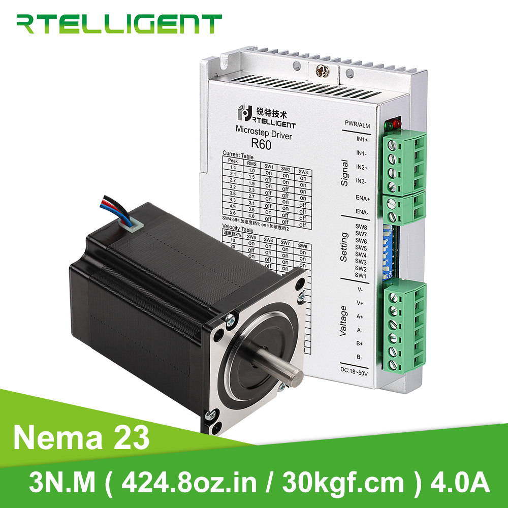 Rtelligent 57A3 Nema 23 Stepper Motor Kit 3N.M(424.8Oz-in / 30kgf.cm) 57 Motor 100mm 4A For CNC Kit Engraving Milling Machine