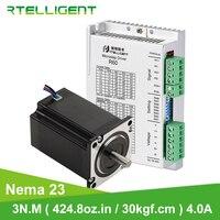 Rtelligent-Conjunto de motor y controlador paso a paso, juego para máquina fresadora de grabado Nema 23, 3 N.m, 424,8 Oz-in 30 kgf-cm, 57, CNC