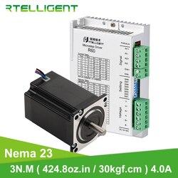 Rtelligent Nema 23 Stepper Motor 3N.M(424.8Oz-in / 30kgf.cm) 57 Motor with Stepper Driver for CNC Kit Engraving Milling Machine