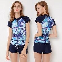 FIGOBELL 2018 One Piece Swimwear Bathing Suit Women Swimsuit Print Floral One-piece Swim Suits Surfing Wear Long Sleeve