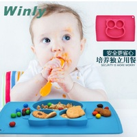 Sozzy Silicone Fun Placemat Plate Baby Insulated Hot Smiling Owl Food Separator Plate One Piece Safe Assistant Dinner Plates