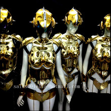Gold Plated Catwalk Shows Women Costume Carnival Victoria font b Sexy b font Lady Evening Dress