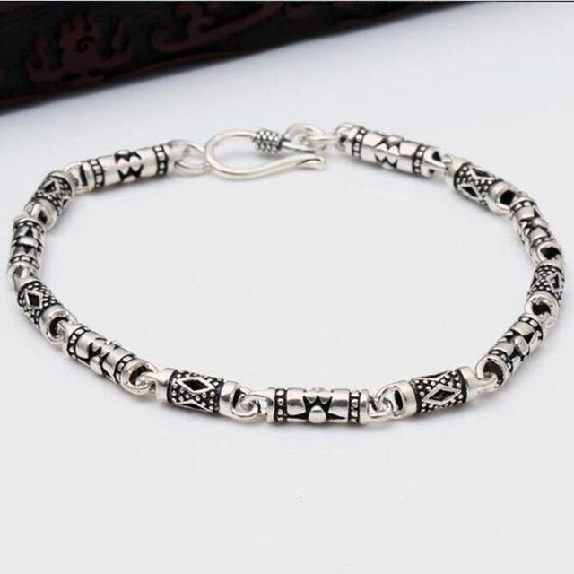 Solid 925 Sterling Silver Bracelet Men Women Vintage Simple Style Black Antique Chain