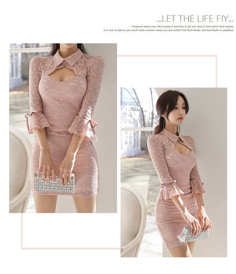 Solid Summer Women Bandage Dress 2019 Plus Size Pink Turn-down Collar Vintage Lace Bodycon Dress Hollow Out Mini Dresses Ladies