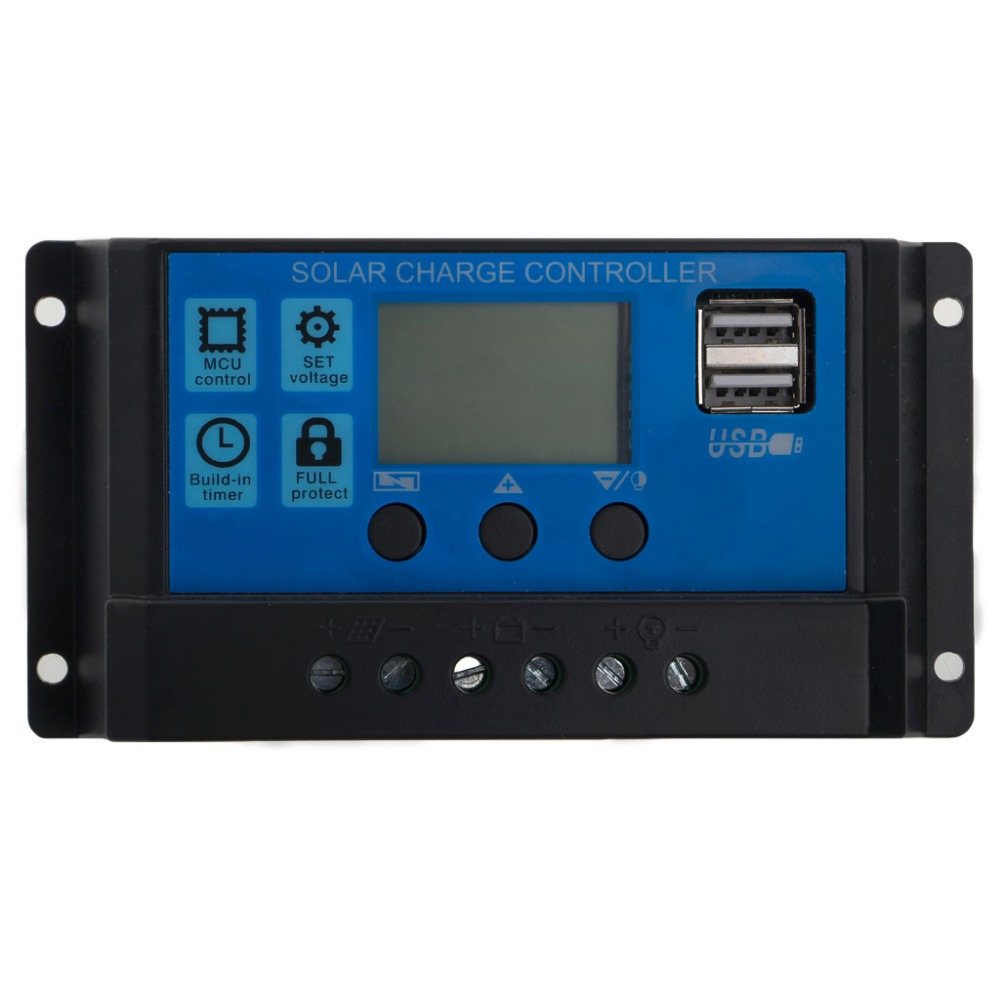 Digital-LCD Solar 12//24V 10//20//30A PWM Controller Regulator Dual USB Laderegler