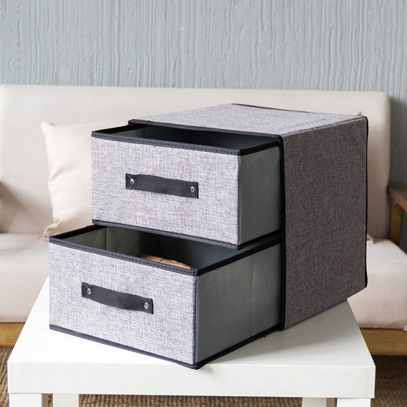 YFGXBHMX Two layer two pump storage box imitation cotton and drawer drawer bra storage box chest
