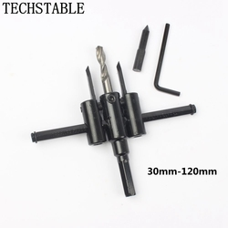 LUBAN Adjustable Metal Wood Circle Hole Saw Drill Bit Cutter Kit DIY Tool 30mm-120mm Black Alloy blade 30mm-200mm 30mm-300mm