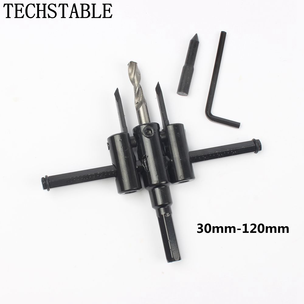 LUBAN de Metal ajustable de madera círculo broca agujero cortador de Kit de herramienta de bricolaje 30mm-120mm negro aleación hoja de 30mm-200mm 30mm-300mm