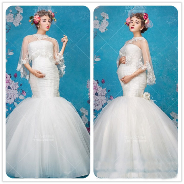 Elegant Pregnant Maternity Mermaid Wedding Party Dress For Photo ...