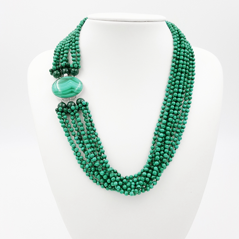 Natural Malachite 9 Strands with 925 Sterling Silver setting Malachite Clasp Fashion Women Jewelry Big Necklace colombo орхидея malachite
