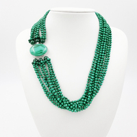 Natural Malachite 9 Strands with 925 Sterling Silver setting Malachite Clasp Fashion Women Jewelry Big Necklace