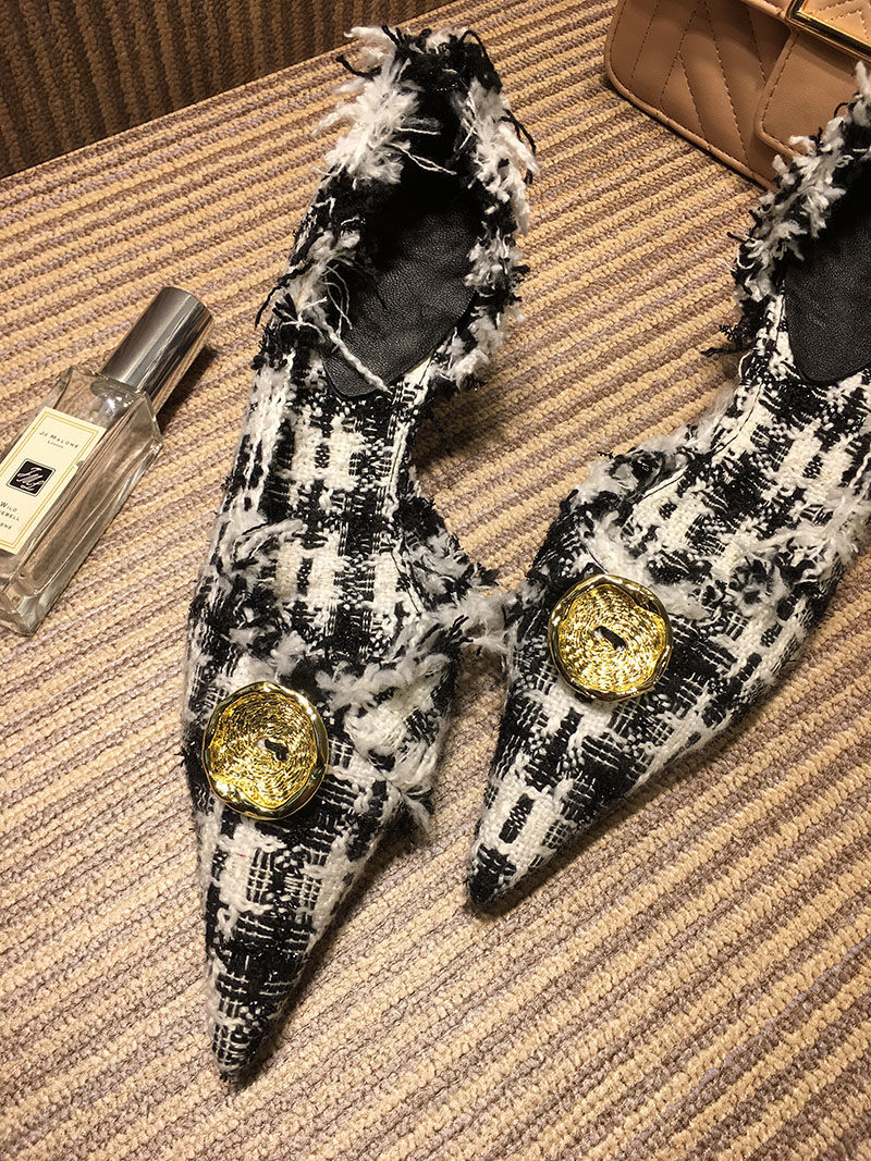 Pointu Sexy De 2018 Chaussures Pompes Talon Talons Marque À Rétro Pic Fête Pic as Bouton Design Femmes Stylé Femme As Piste Bout FFaEqzS