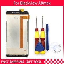 Novo original blackview a8 max lcd + montagem da tela de toque para blackview a8max ferramenta 3 m adesivo