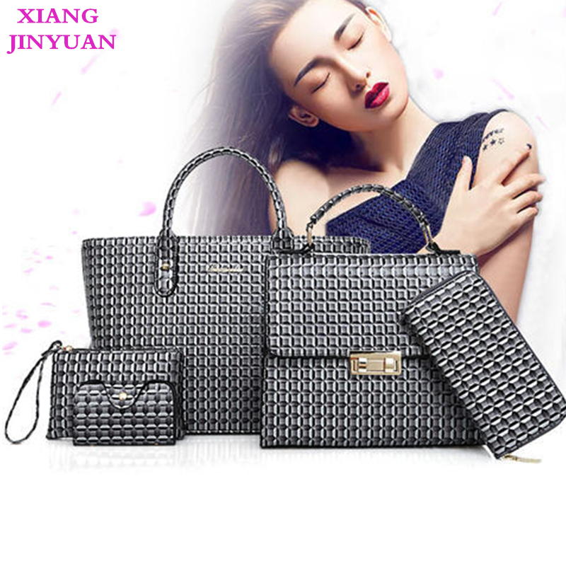 2018 New Kpop Big Name Bao Bao 5 Pieces Set Fashion Classic Bags for Women Vintage Women Messenger Bag Practical Composite Bag faux leather minimalist practical 3 pieces tote bag set page 5