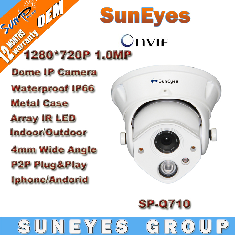 SunEyes ONVIF 1280*720P HD 1.0MP Dome IP Camera Outdoor/Indoor Waterproof IP66 Array LED IR Night Vision P2P Plug Play SP-Q710 4 in 1 ir high speed dome camera ahd tvi cvi cvbs 1080p output ir night vision 150m ptz dome camera with wiper