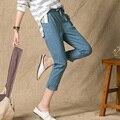 Summer Style 2017 Pants Women High Quality Cotton Linen Pants Casual Elastic Waist Slim Trousers Capris For Women Pantalon Femme
