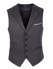 Dark Gray Slim Fit Groom Vests Wedding Prom Dinner Party Suit Waistcoat For Men Best Man