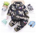 2017 winter Baby Boys fashion camouflage Clothing set Casual Tracksuit Infant Toddler thicken Clothes Top cotton coat + Pants