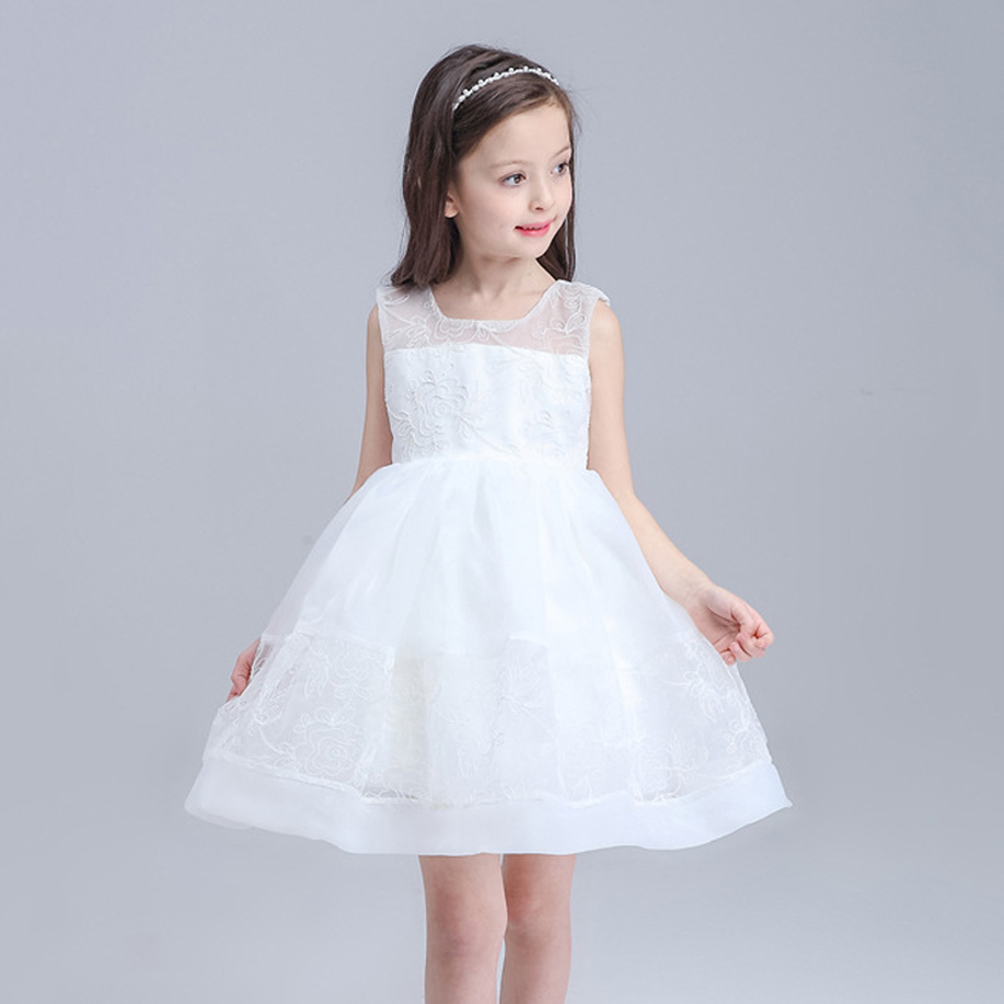 White Flower Girl Princess Dress Girl Party Pageant Wedding Bridal Dress Children Bridesmaid Toddler Elegant Dress Girls