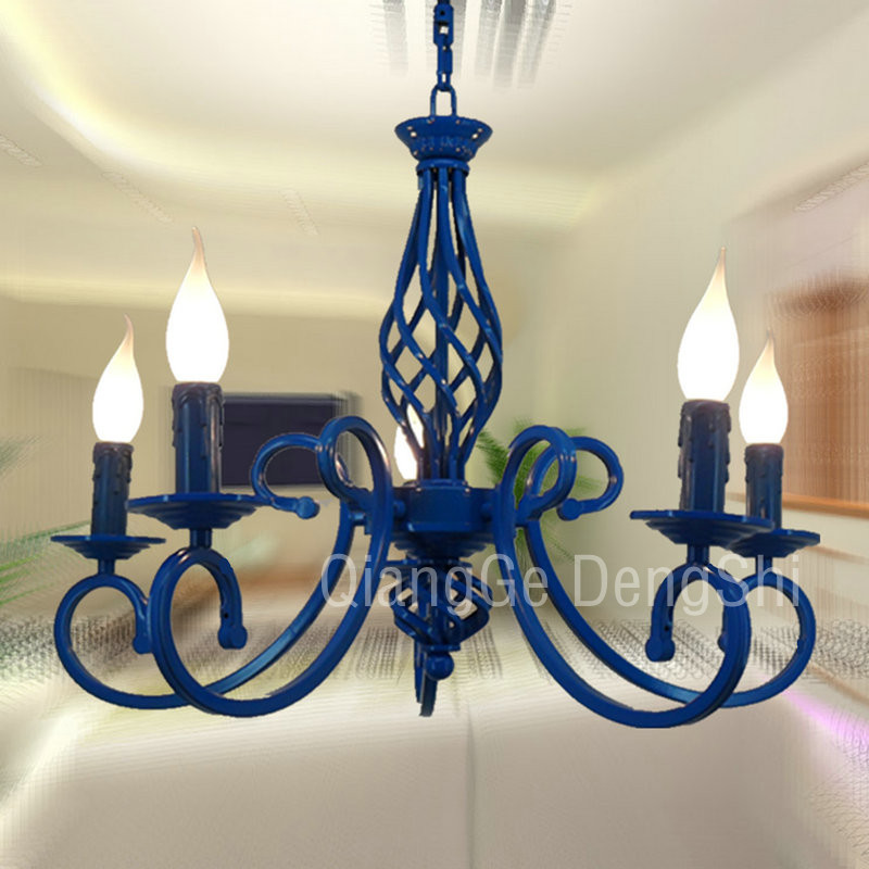 Multiple Chandelier Wrought iron light blue child real lighting rustic brief candle lamp  ems free shipping wrought iron pendant light blue child real lighting rustic brief candle lamp pendant lamp