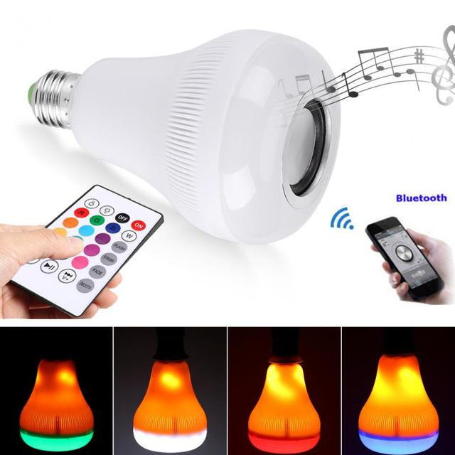 18W RGB E27 LED Flame Effect Light Lamp Bulb Bluetooth Speaker Music Light  With Wireless Remote
