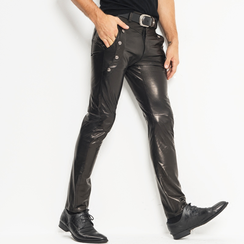 Men's Leather Pants Skinny Moto&Biker Punk Rock Pants Slick Smooth Shiny Leather Trousers Tight Sexiest