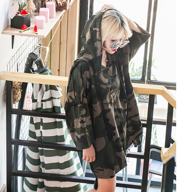 Fashion Killa Hoodie Dress Womens Sweatshirts Hoodies Cotton Women Dress Long Sleeves Hooded Camo Loose Casual Long Dresses