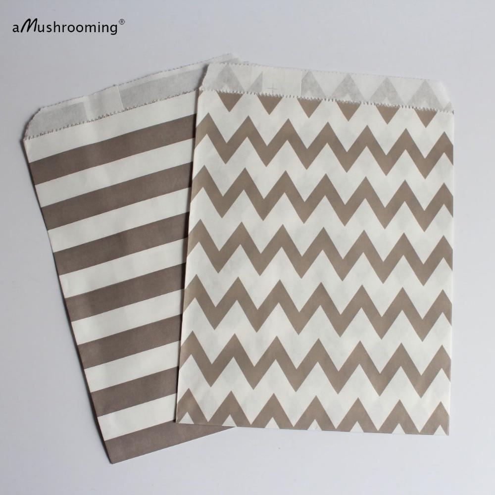 100 Gray Paper Party Favor Bags Stripe Chevron Gray Wedding Favors ...