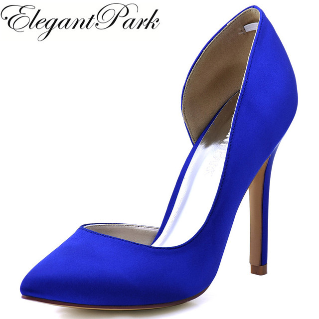 Woman Shoes Blue High Heel Pointy Toe Satin Bride Bridesmaid Wedding Bridal Evening Dress Prom Pumps