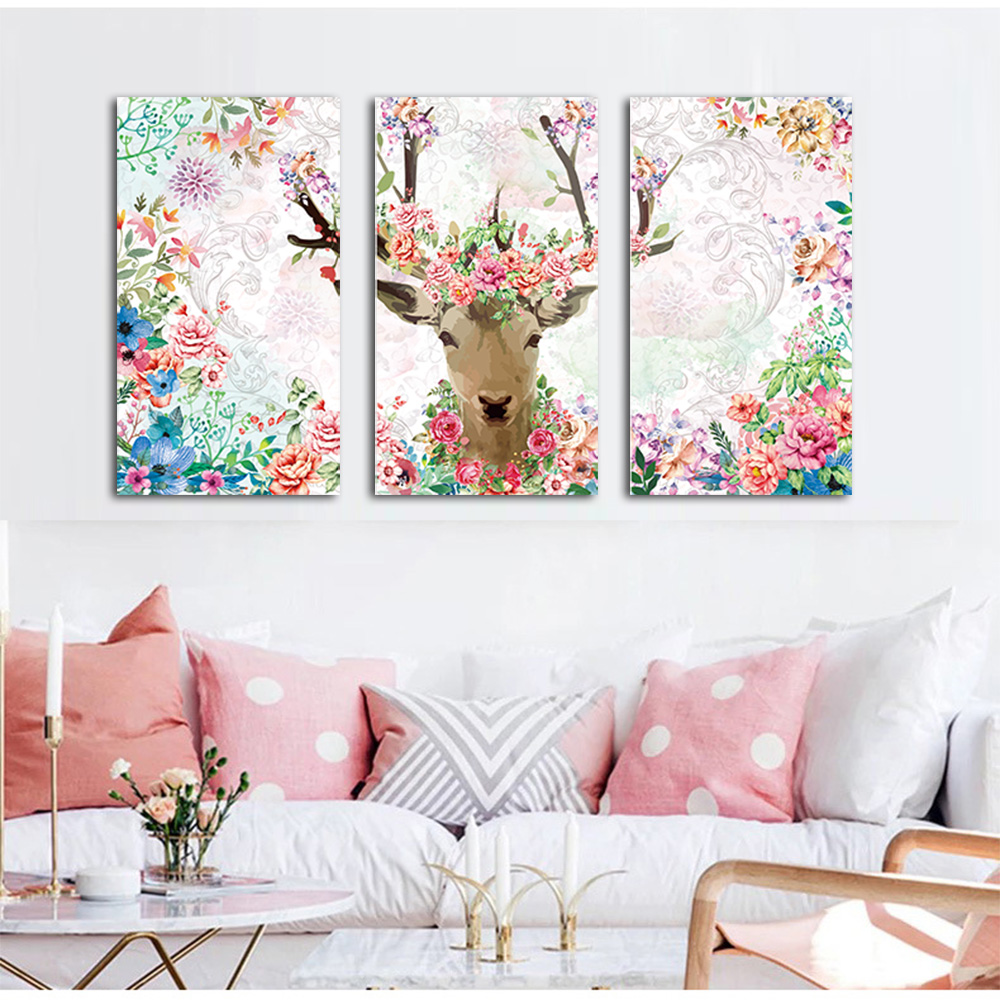 WANGART Watercolor 3 Pieces Poster Painting Moose Flower Animal Canvas for living Room Home Wall Art Print Decoration Pictures