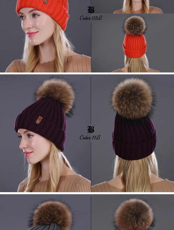 [FLB] Wholesale Real Mink Fur Pom Poms Knitted Hat Ball Beanies Winter Hat For Women Girl 'S Wool Hat Cotton Skullies Female Cap 60