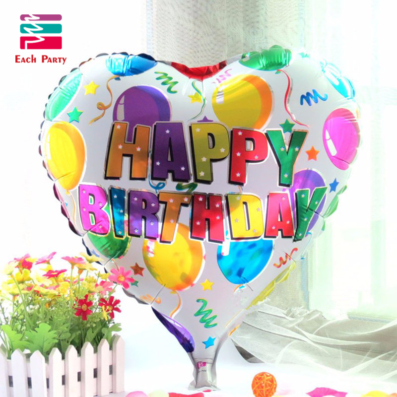 18 inch birthday heart air balls aluminum foil balloons happy birthday party dec
