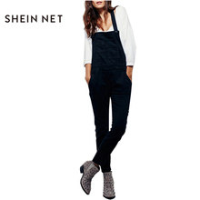 Sheinnet Sleeveless Preppy Women Jumpsuit Cross Back Pockets Button Playsuit Summer Casual Slim Chic Female Jumpsuit