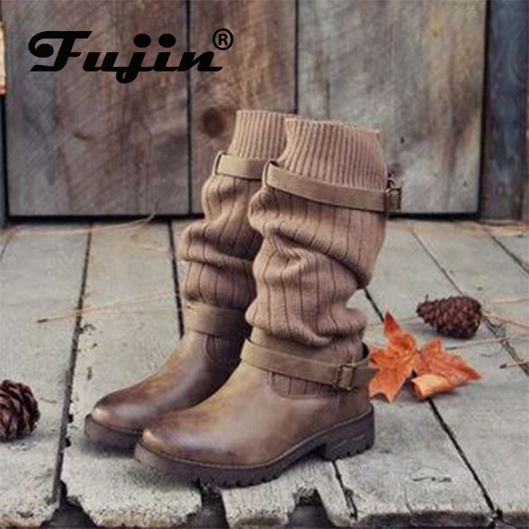 Fujin Women Boots Belt-Buckle Motorcycle-Boots Retro British Large Female Trend United-States