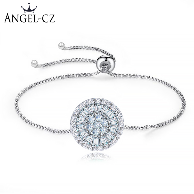 ANGELCZ Simple Friendship Tennis Bracelet Bangle For Ladies Captivate Cubic Zirconia Korean Minimalist Adjustable Jewelry AB107