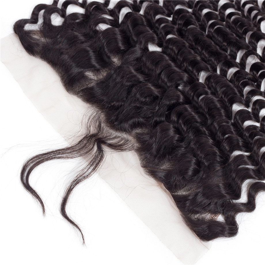 Image 3 - bling hair Deep Wave 13x6 Lace Frontal Closure Pre plucked Natural Hairline Brazilian Remy Human Hair Closure With Baby Hair-in Closures from Hair Extensions & Wigs